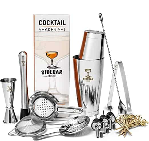 Cocktail Shaker Set by Sidecar Mixology 16 Piece Premium Silver Stainless Steel Bartending Ki