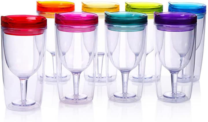 Cupture Insulated Wine Tumbler Cup With Drink Through Lid 10 oz 8 Pack