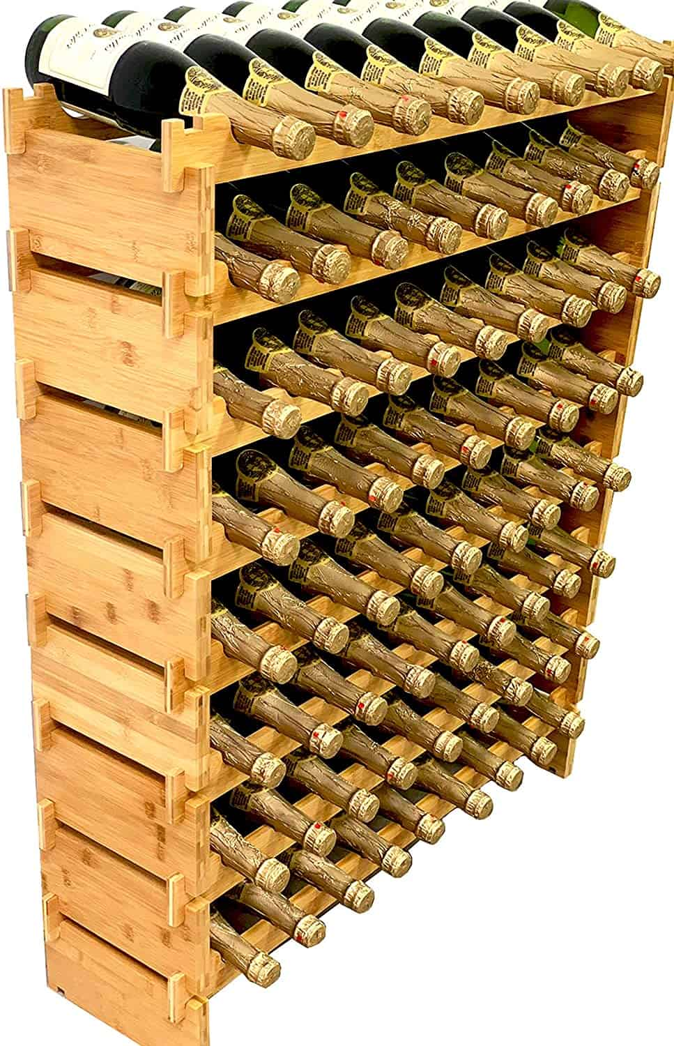 DECOMIL 72 Bottle Stackable Modular Wine Rack Wine Storage Rack Solid Bamboo Wine Holder Display Shelves Wobble Free Eight Tier 72 Bottle Capacity min
