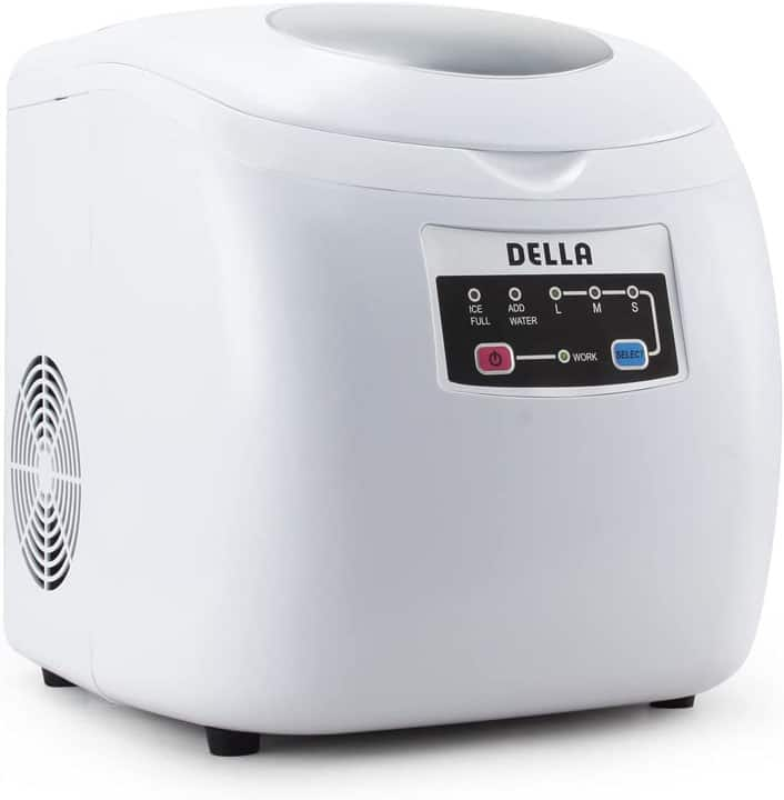 DELLA Electric Ice Maker High Capacity Ice Maker Touch Button Display 26 Pounds per Day 3 Cube Sizes White