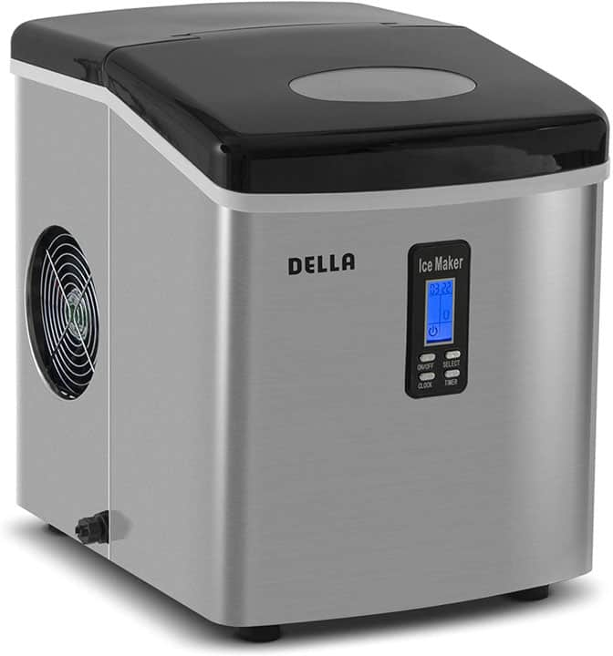 Della Portable Ice Maker 28 lb. Daily with Timer Countertop Compact Design 3 Size Bullet Shaped Ice LCD Display