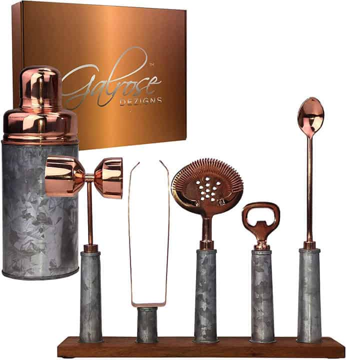 GALROSE Cocktail Shaker Set Rose Gold 6 Bartending Tools Rustic Galvanized Iron Bar Set