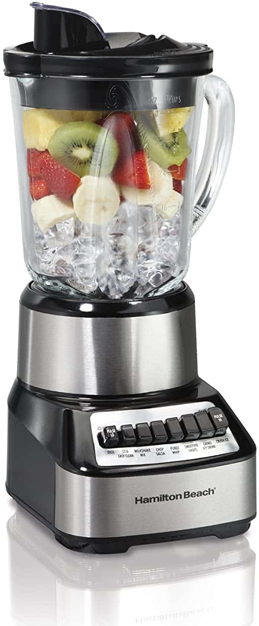 Hamilton Beach Wave Crusher Blender with 40oz Glass Jar and 14 Functions for Puree Ice Crush Shakes and Smoothies Stainless Steel 54221