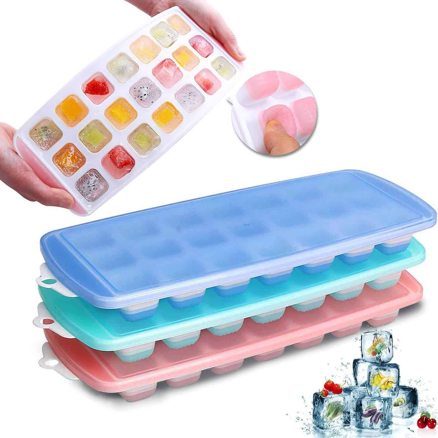 Ice Cube Trays Silicone Easy Release and Flexible 21 Ice Trays