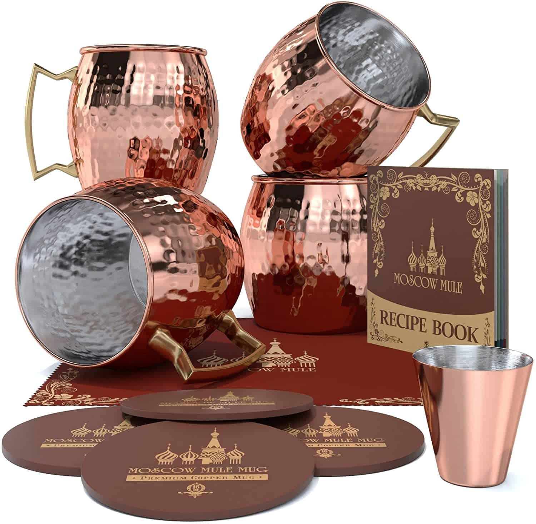 Krown Kitchen Hammered Moscow Mule Copper Mug Set of 4 1
