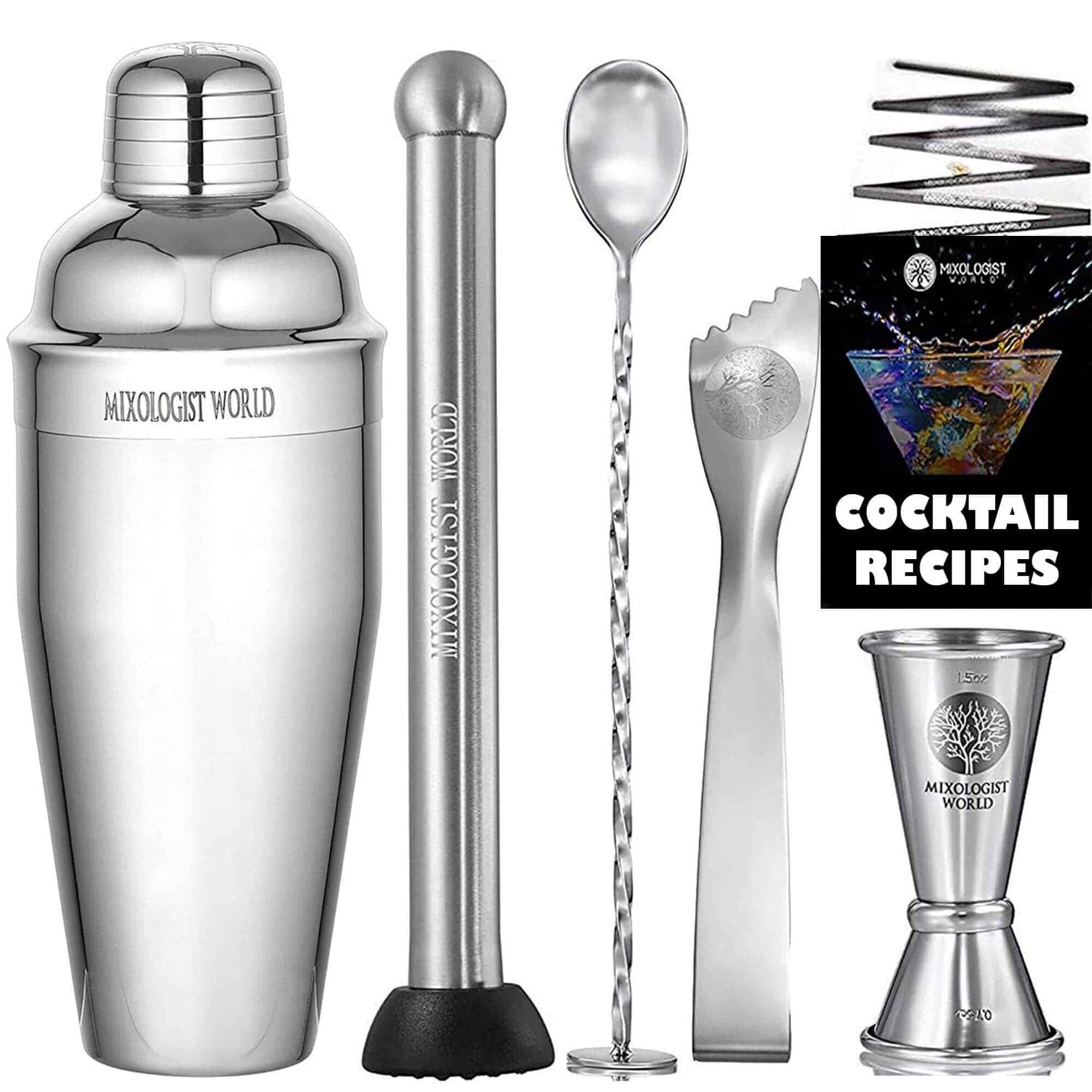 Mixology Cocktail Shaker with Recipes 5 pieces Bartender Set 24 oz Bar Tool Kit Accessories min