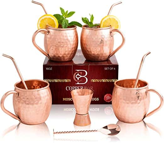 Moscow Mule Copper Mugs Set of 4 100 HANDCRAFTED Pure Solid Copper Mugs