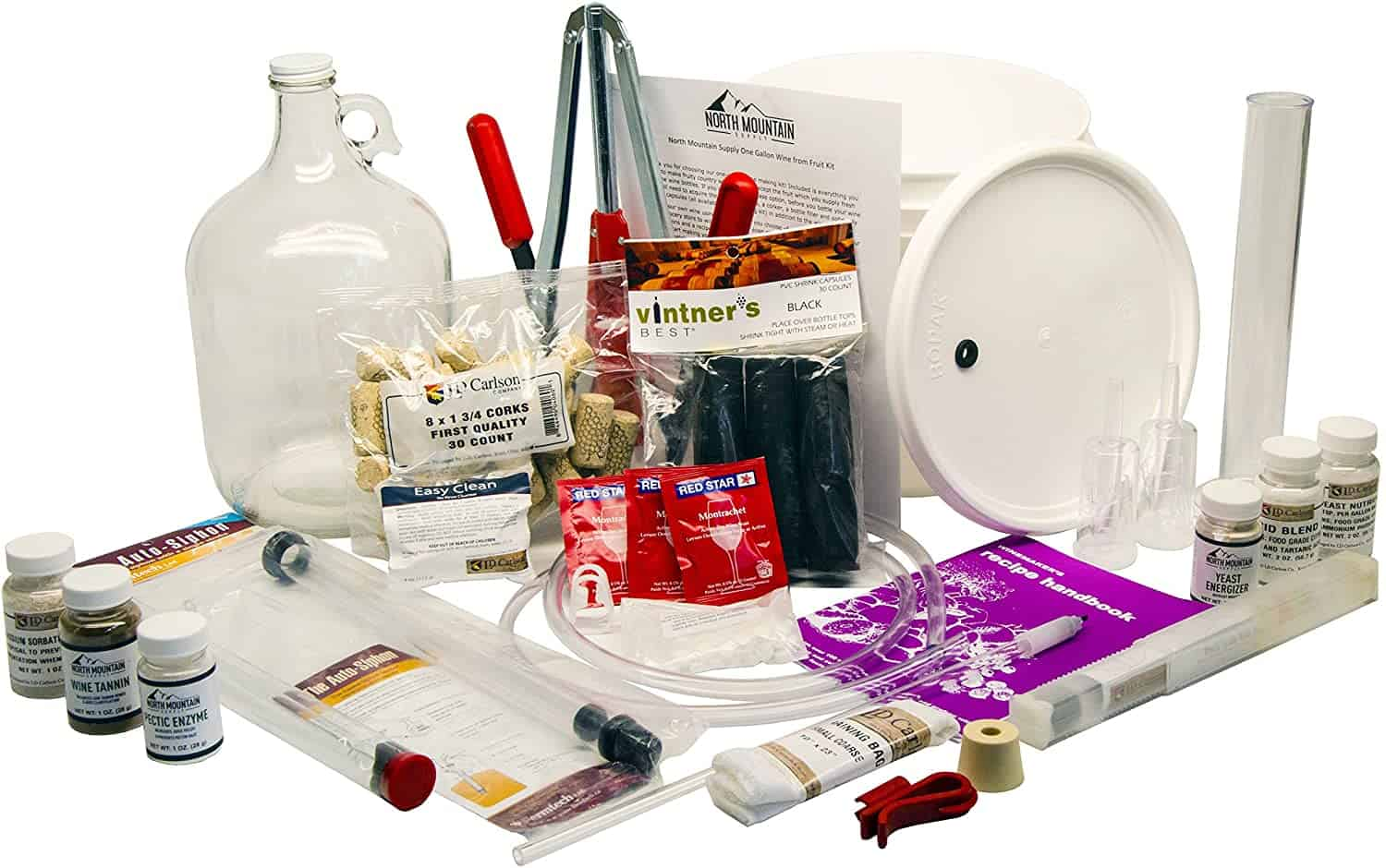 North Mountain Supply 1 Gallon Wine from Fruit Complete 30pc Kit Only Fruit Bottles Required