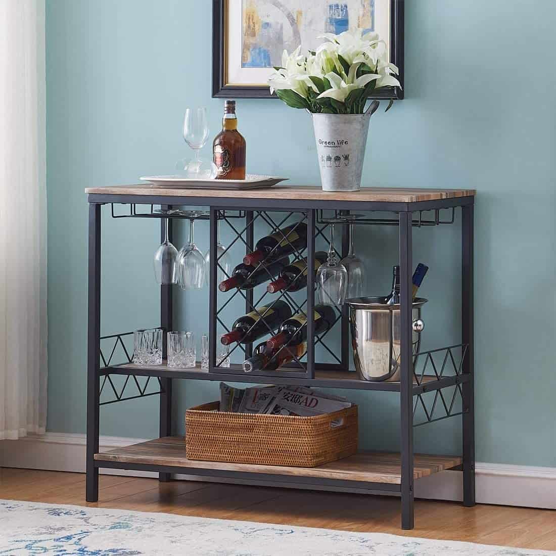 OK Furniture Industrial Wine Rack Table with Glass Holder Wine Bar Cabinet with Storage Brown min