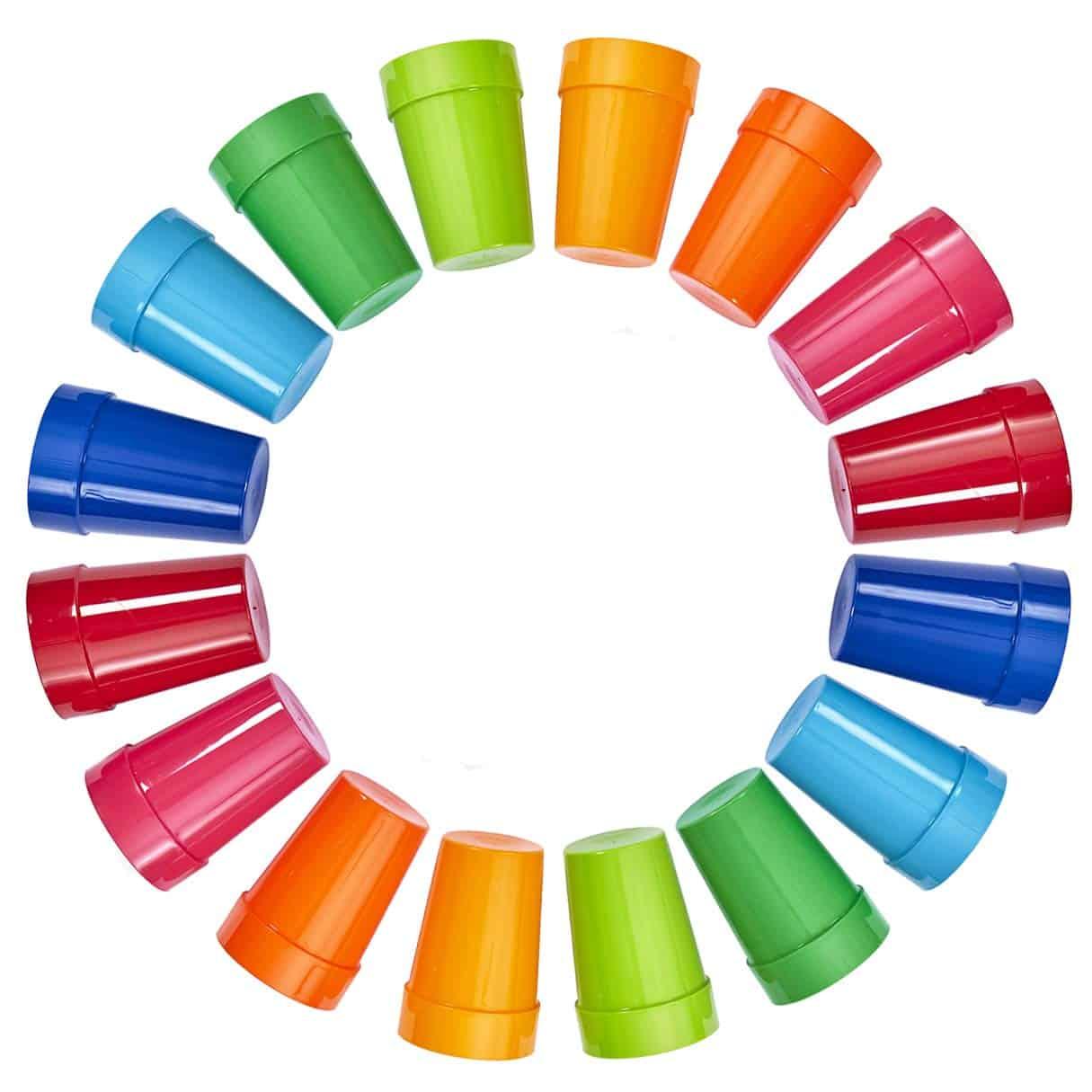 Set of 16 Spectrum Unbreakable Plastic 10oz Kids Juice Tumblers in 8 Assorted Colors