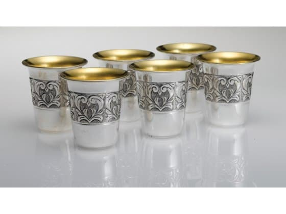 hadad sterling silver kiddush cup set 6 toscana floral band liquor cups