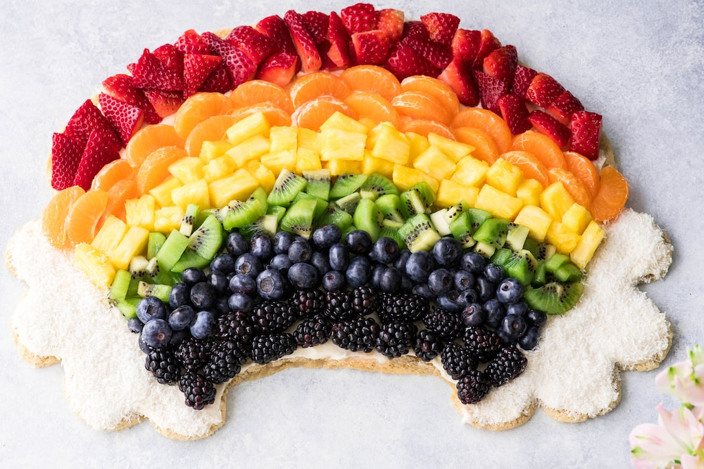 Rainbow Fruit Pizza Recipe with a sugar cookie crust and cream cheese frosting 5 1