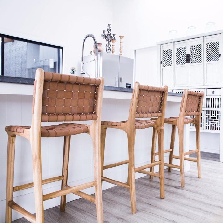 woven leather bar stool